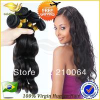 4pcs/lot mix size  brazilian hair weave bundles unprocessed brazilian human weave hair free shipping