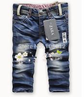 Retail - High quality 2-10 years fashion cool cotton denim boys jeans brand children's long pants kids girls boys pants
