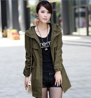 4 Colors ! 2014 New Womens Hoodie Drawstring Army Green Military Parka Jacket Coat Jumper