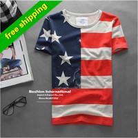 New spring 2014 fashion casual t -shirt man men's usa american flag t shirt men fitness short-sleeved men's clothing