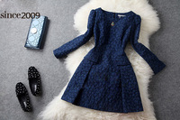 Autumn and winter fashion elegant one-piece dress vintage embroidered one-piece dress diamond ladies dress skirt