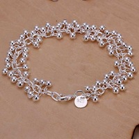 Fashion 925 silver plated  grape beads bracelets,charm bead bracelet with link chain, bell rings charm bracelet in free shipping