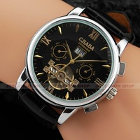 Classic Men 5 Hands Black Dial Multifunction Tourbillon Calendar Date Leather Business Automatic Mechanical Wrist Watch U363