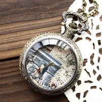 Free shipping wholesale dropship 2013 hot sale vintage fashion the arch of triumph high quality pocket watch