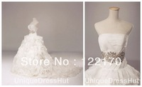 Free Shipping Luxury Theme bling Wedding Dresses, cathedral Bridal Gowns, Wedding Dresses 2013, white ball gown wedding dresses