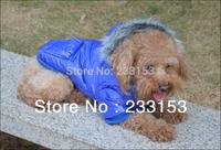 Free Shipping Dog Thickening Vest Puppy Puffy Ski Coat Small Dog Winter Jacket Dog Hooded Coat Dark Blue Color