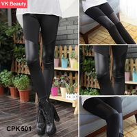 Skinny  Women's Fashion PATCHWORK Warm Leggings Pantynose Symmetric Stitching  Slim fit artificial leather  Pants   VK CPK501