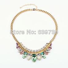 Grey Shiny Gold Green Rhinestone Necklace(China (Mainland))