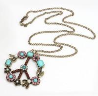 1pc Fashion Vintage Retro Bronze Colorful Peace Sign Flower Pendant Chain Necklace 60156