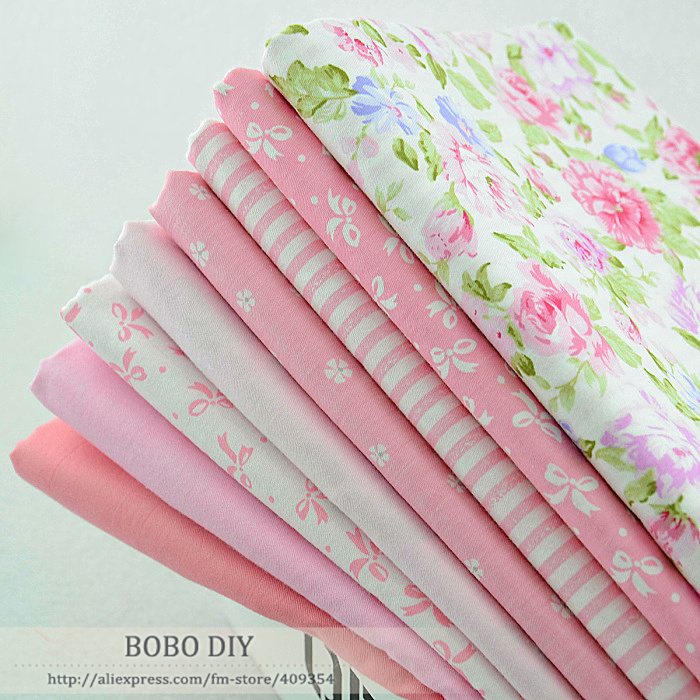 8pieces 45cmx50cm baby pink cotton fabric fat quarter bundle tilda sewing cloth home textile bedding patchwork quilting W1A4-3(China (Mainland))
