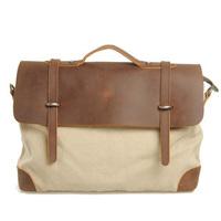Retro Vintage Preppy Style Canvas+Crazy Horse Leather Bag For Men And Women Handbag Briefcase Laptop Shoulder Bag Messenger Bag