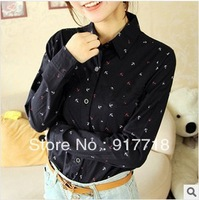 2013 New Arrival Small Fresh Anchor MM Printing Lapel Big Yards Loose Blouse T Shirt Long-sleeved Shirt Bottoming Free shipp S12