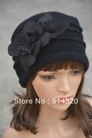 A123 Black Felt Flower trimmed Womens Warmer Wool Beanie Cap Dress Crochet Hat