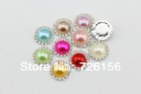 Free Shipping (40pcs/lot)20mm Colorful  Bling Pearl Button Alloy Metal Buttons Flat Back