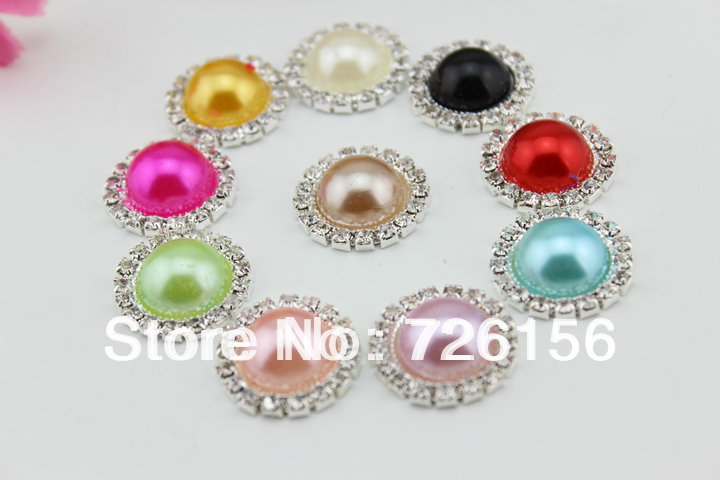 Free Shipping (240pcs/lot)20mm Colorful Bling Pearl Button Alloy Metal Buttons Flat Back(China (Mainland))