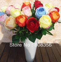"NEW 32Pcs 65cm/25.59"" Length Artificial Flowers Simulation Sweetheart Roses Single Rose Half Open Bride Bouquet Wedding Flower"