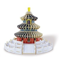 Children Educational Toy  Age 6 Kids DIY 3D Wooden Puzzle Assembly Building Model Beijing Temple of Heaven