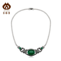 925 silver luxury thai silver vintage green agate 18 Women silver necklace classic   new 2013 girls accessories jewelry sets