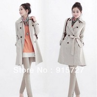 free shipping female New 2013 winter women's elegant slim belt double breasted outerwear hot sale overcoat fashion Windbreaker