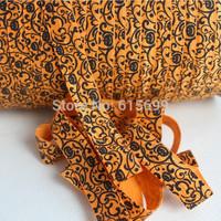 "Halloween FOE Ribbon,  5/8"" fold over elastic ribbon printed damask, Welcome Custom Print"