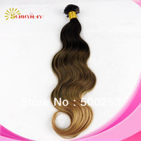 Virgin malaysian ombre hair 1g/s 100s nail tip hair extension u shape tip hair