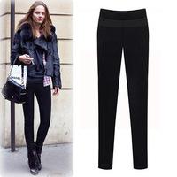 L0400, free drop shipping  women's new winter big plus thick velvet pencil pants ,casual lady pant