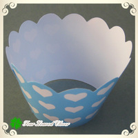 Free shipping 100pcs white heart  blue cupcake wrappe,baby shown favors,print cupcake favor boxes,muffin baking wraps!!
