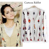 women sweater knit cardigan butterfly/floral/cartoon rabbit print winter white  sweater knitwear