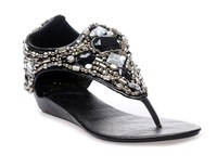 2013 Womens fashion graceful rhinestone wedge sandals big size 35-41 black and white shoes