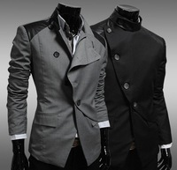 Hot Sell Mens Stylish Slim Fit Blazer Top Jacket Outwear,Male Cloths,Suit Top, 2 Color,Casual Wear,Wholesale,Free Drop Ship,XG29