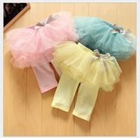 4pcs/lot hot sale baby girls summer leggings with tutu skirt kids princess bow Fifth pants yellow pink blue 607