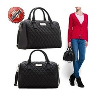 New Hotsale   black PU women leather handbag plaid bag MANGO bag women messenger bag