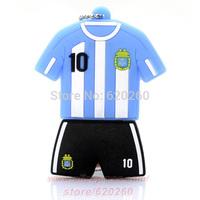 Free Shipping! 2014 new world cup Argentina 10 Messi Jersey USB 2.0 Flash Drive, Argentina Football Cloths 2GB 4GB 8GB 16GB 32GB
