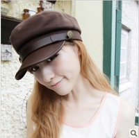 Free Shipping Women Spring  handsome leather cap