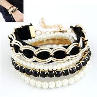 Fashion Pulseiras femininas Jewelry Multi Layers Pearl Chain Bracelets Bangles For Women Mujer Bijoux Accessories 2014
