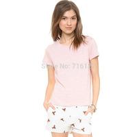 FREE SHIPPING 2014 summer new women trousers high waist Playful fawn print full texture elegant five pockets  Slim shorts XS-XXL