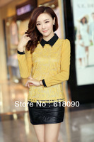 Fashion plus velvet Lapel bottoming shirt Long sleeve Winter small shirt 2013 New Women Lace