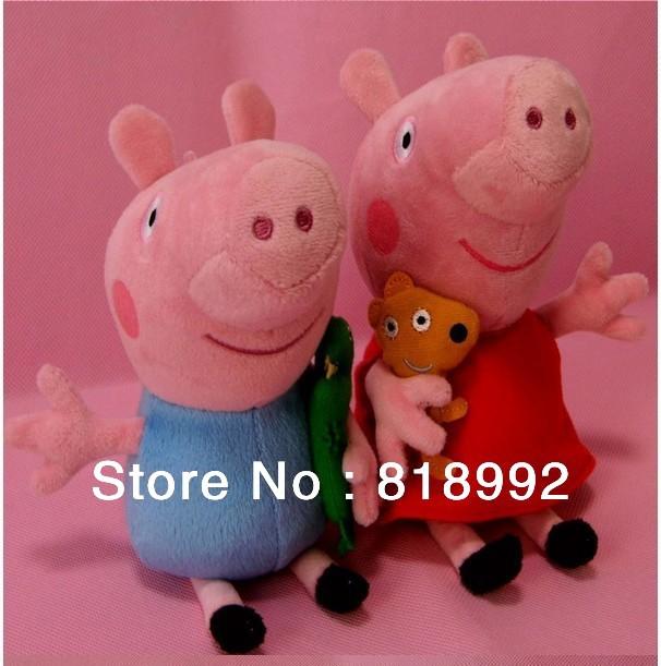 New Hot sale Christmas Gift 19cm Cute Peppa Pig With Teddy Bear George Pig Plush Doll Toy Stuffed Plush Cartoon Plush Kids Gift(China (Mainland))