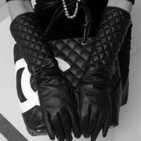 40 cm Women Long Leather Gloves New 2014 Winter Fashion Black Bow Leather Gloves Warm Cute Dance Women's Gloves