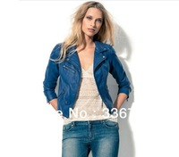 2013 New Arraival Women's European Multicolor Motorcycle Short Leather Jacket