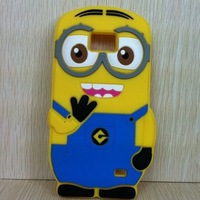 Wholesale+ Retail New Arrivals 3d Silicon Despicable Me Minions Case Soft Back Cover for Samsung Galaxy S2 SII I9100 Phone Cases