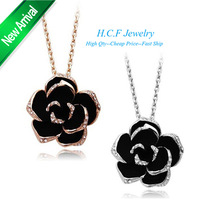 2014 New Fashion Christmas Gift  18K Wholesale Price High-end Fashion Jewelry only Beautiful Black Rose Love Camellia Necklace