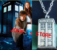 Freeshipping 20pcs a lot ancient silver TARDIS necklace Doctor Who necklace FQ01