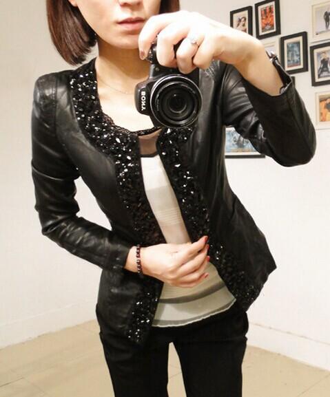 2014 Autumn Winter Women Outerwear Coat Casacos Femininos Water Wash PU Diamond Long-sleeve Leather Jacket Plus Size SC7013**(China (Mainland))