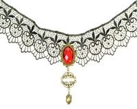Free Shipping Gothic Harajuku Shibuya Black Lace Drop Necklace Vampire Sexy Costume Jewelry Z3T4 (Hot selling)