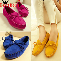 2015 Flat Heel Fashion Candy Color Bow Knot Round Toe Slip On Loafer Shoes Casual Comfortable Free Shipping # L035556
