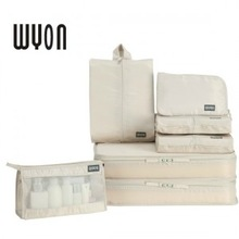 7pcs/lot ON SALE! A Seven-Piece Solid Nylon Packing Organizers For Travel Accessories 2 Colors ( Beige, Gray)(China (Mainland))