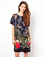 Free Shipping Factory Wholesale in Stock Europe Style Fashion Brand Women Cotton Flora Print Dress(Size:X,M,L)