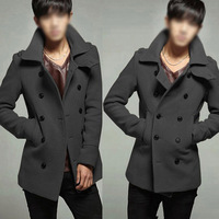 Winter Explosion Models Korean Men Slim Stylish Double-Breasted Wool Coat CLKW2865