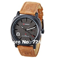 2014 New Brand Curren Quartz Men Watches Men Casual Watch Army Military Watches Japan Movt Luminous Hands Leather Strap Watch